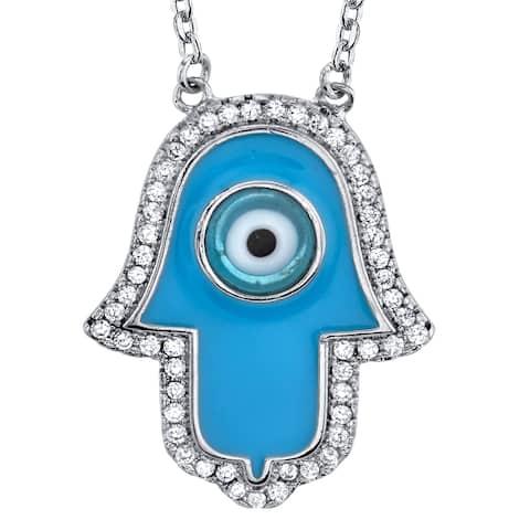 "Oliveti Blue Enamel Hand of Hamsa Evil Eye Pendant Cubic Zirconia adjustable 16""-18"""