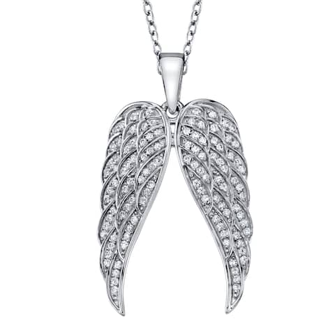 """Oliveti Sterling Silver 925 Angel Wings Pendant Sparkling Cubic Zirconia Free 18"""" Rolo Chain"""