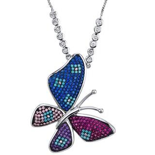 "Oliveti Large Multi Color Butterfly Pendant Turquoise CZ Gemstone adjustable 16""-28"""