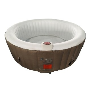 ALEKO Round Inflatable Hot Tub With Cover 6 Person Brown and White