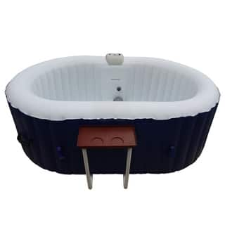 ALEKO Oval Inflatable Hot Tub With Drink Tray 2 Person Dark Blue