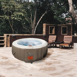 ALEKO Round Inflatable Hot Tub With Cover 4 Person Brown and White