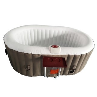 ALEKO Inflatable Hot Tub With Drink Tray Cover 2 Person Brown/White