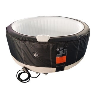 ALEKO Round Inflatable Hot Tub With Cover 4 Person Black and White