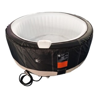 ALEKO Inflatable Hot Tub With Cover 6 Person 265 Gallon Black/White