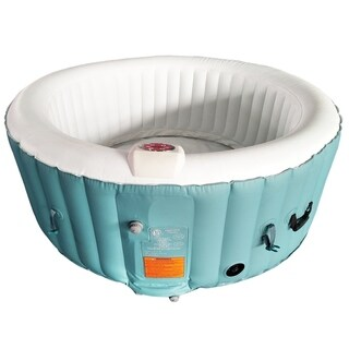 ALEKO Round Inflatable Hot Tub With Cover 4 Person Light Blue/White