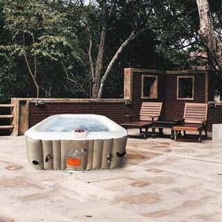 ALEKO Square Inflatable Portable Hot Tub Personal Spa 4 Person Brown