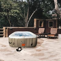 ALEKO Square Inflatable Hot Tub With Cover 6 Person Brown and White