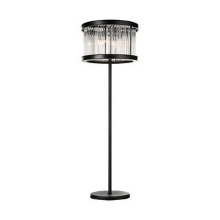 Mira Collection 6-light Black Stainless Steel and Crystal Floor Lamp