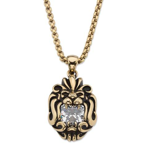 Men's Gold Ion-Plated Stainless Steel Lion's Head Pendant CZ