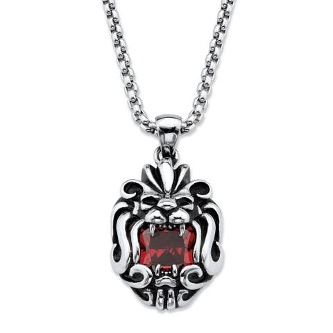 Men's Stainless Steel Antiqued Lion's Head Pendant Red CZ
