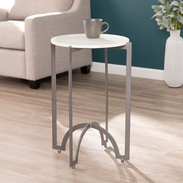 White Marble And Metal Round Accent Table: Shop Harper Blvd Therra Grey Metal Marble Top Round Accent