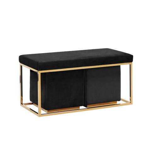 Sagebrook Home 3-piece Black Velveteen and Goldtone Bench and Stools Set