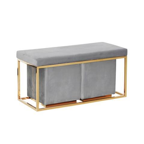 Sagebrook Home Gold/Grey Velveteen Bench