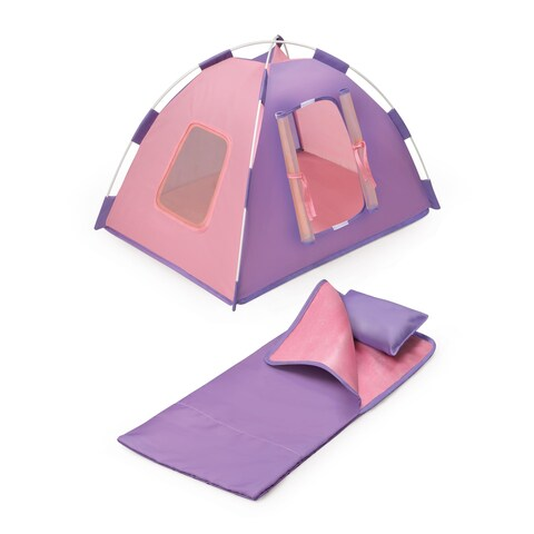 Doll Tent for 18-inch Dolls with Sleeping Bag and Travel Bag - Pink/Purple