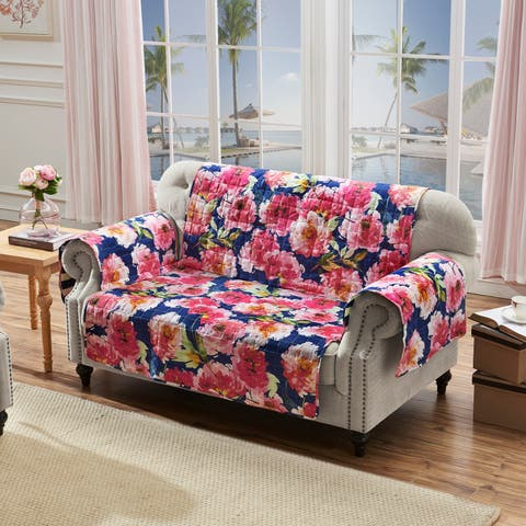 Barefoot Bungalow Peony Posy Loveseat Protectory, Navy