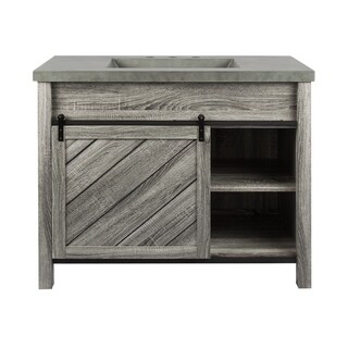 Vanity Sink w/1 tangmen with a shelf inside, with cement vanity top