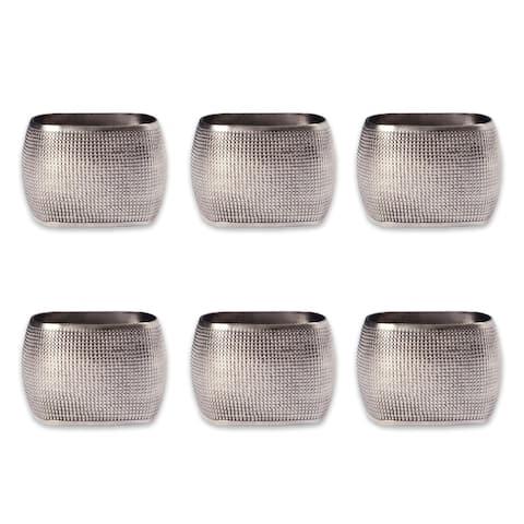 Design Imports Textured Square Kitchen Napkin Ring Set (Set of 6)