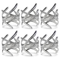 Design Imports Antique Silver Branch Napkin Ring Set (Set of 6)