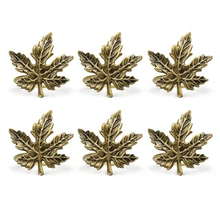 Design Imports Gold Maple Leaf Napkin Ring Set (Set of 6)