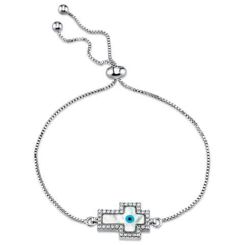 """Oliveti Mother of Pearl Cross Evil Eye Bolo Bracelet with Cubic Zirconia adjustable up to 8.5"""""""