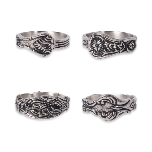 Design Imports Orted Silver Spoon Napkin Ring Set Of 4