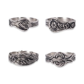 Design Imports Assorted Silver Spoon Napkin Ring Set (Set of 4)