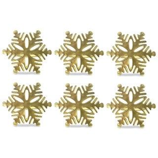 Design Imports Gold Snowflake Napkin Ring Set (Set of 6)
