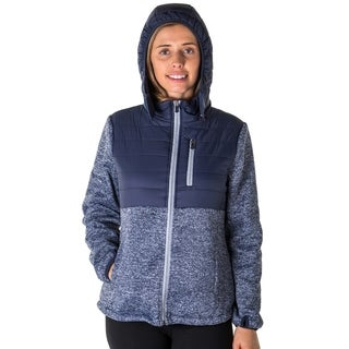 Ladies zip up detachable hood jacket.