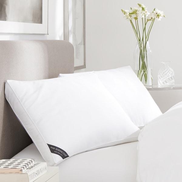 Five Queens Court Elite 300 TC Cotton Sateen Allergen Barrier Down Alternative Pillow - White