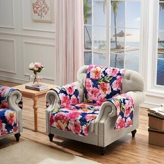 Barefoot Bungalow Peony Posy Armchair Protectory, Navy