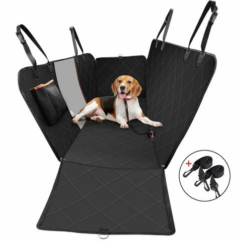 Dog Car Seat Covers Pet Car Seat Liner With Mesh Window & Storage Pockets, Scratch Proof & Waterproof