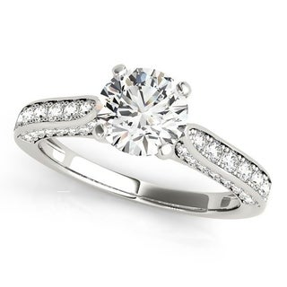 Auriya 14k Gold 3ct Classic Round Moissanite and 1/2ct TDW Diamond Engagement Ring