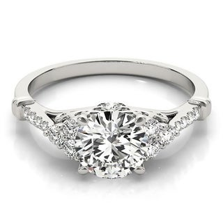Auriya Vintage 1/2ct Round Moissanite and 1/5ctw Diamond Engagement Ring 14K Gold