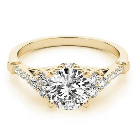 Auriya 14k Gold Vintage 1 1/2ct Round Moissanite and 1/5ctw Diamond Engagement Ring