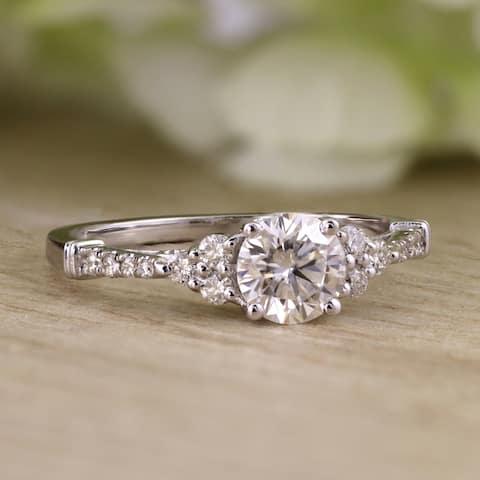 Auriya 14k Gold Vintage 1 1/2ct Round Moissanite and 1/5ctw Diamond Engagement Ring