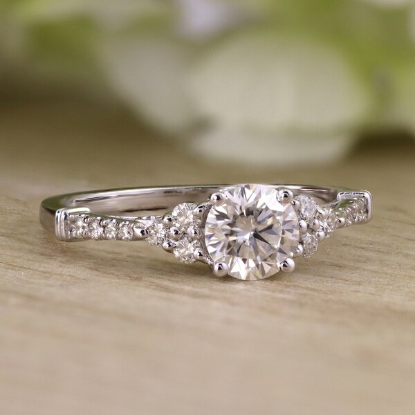 Auriya 14k Gold Vintage 1 1/2ct Round Moissanite and 1/5ctw Diamond Engagement Ring. Opens flyout.