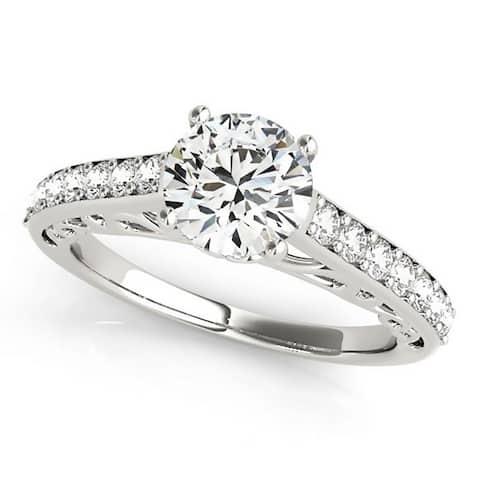 Auriya 14k Gold 1ct Round Brilliant Moissanite and 1/3ctw Diamond Engagement Ring