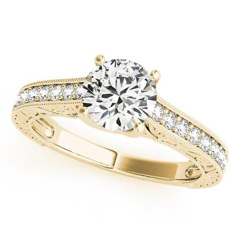 Auriya 14k Gold 1/2ct Vintage Moissanite and Diamond Engagement Ring 1/4ctw