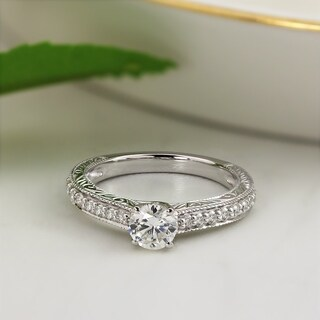 Auriya 14k Gold Vintage Inspired 1/4cttw Diamond and 1/2ct Round Moissanite Engagement Ring