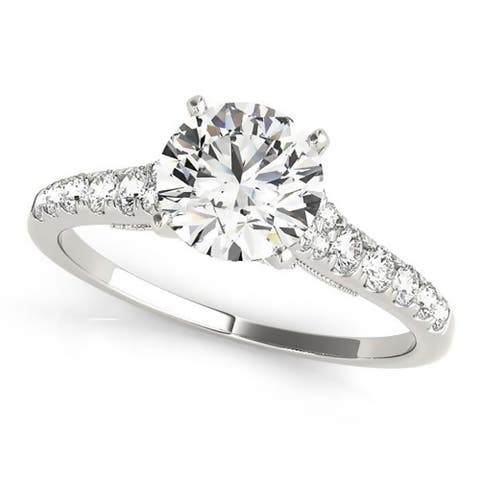Auriya 14k Gold 1ct Vintage Moissanite and Diamond Engagement Ring 1/4ctw