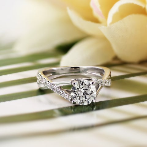 Auriya 14k Gold Modern 1/4ctw Diamond and 1ct Round Moissanite Engagement Ring