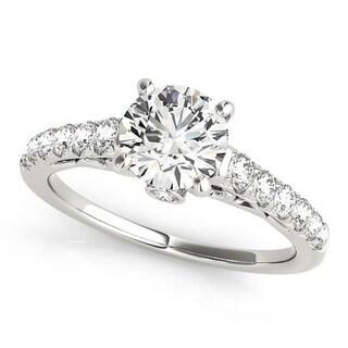 Auriya Classic 1 2 Carat Moissanite And Diamond Engagement Ring 3 8ctw 14K Gold