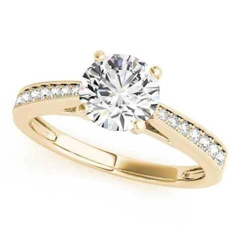 Auriya 14k Gold Classic 2ct Moissanite and Diamond Engagement Ring 1/6ctw