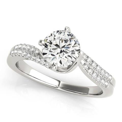 Auriya 14k Gold 1ctw Moissanite and Diamond Engagement Ring 1/6ctw