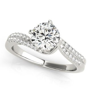 Auriya 1ct Bypass Moissanite And Diamond Engagement Ring 1 6ctw 14K Gold