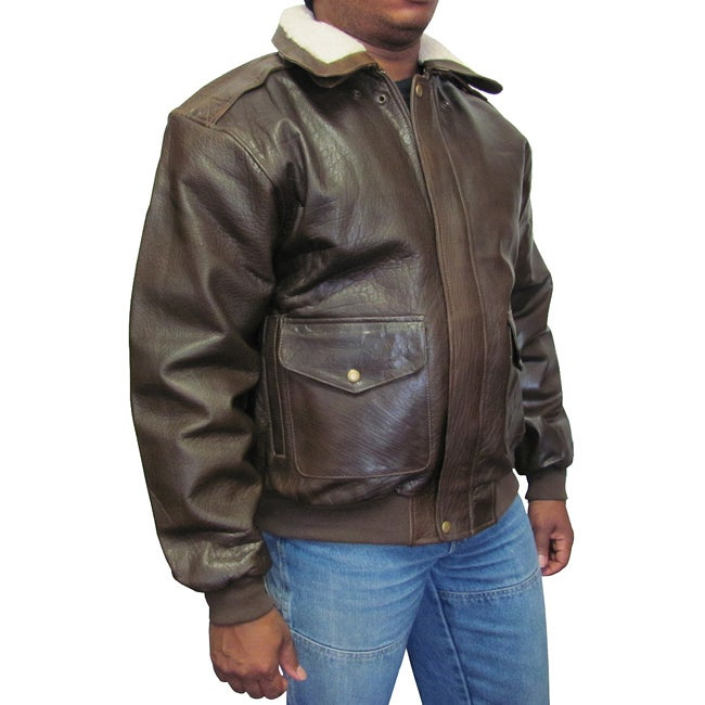 Amerileather Men&39s Distressed Brown Leather Bomber Jacket - Free