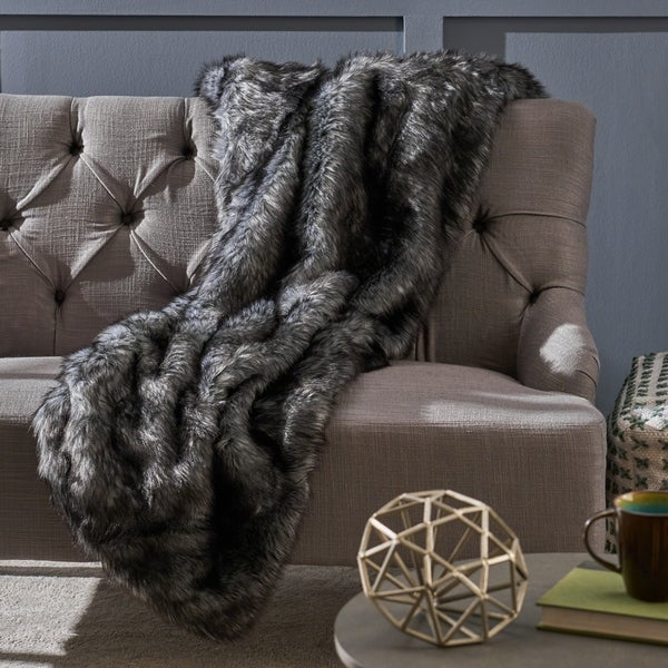 Warrin Furry Glam Faux Fur Throw Blanket by Christopher Knight Home