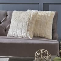 Warrin Furry Glam Faux Fur Throw Pillow (Set of 2) by Christopher Knight Home