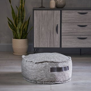 Alaric Fabric Round Bean Bag Ottoman by Christopher Knight Home